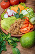Buddha Quinoa bowl of mixed vegetable on the wooden table. - 151561326