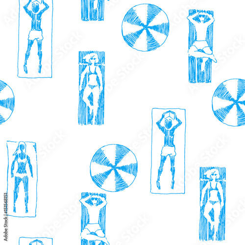 Materiał do szycia Vector seamless pattern with people on beach. Hand drawn illustration of young men and women sunbathing under umbrellas on the sea coast.  Summer vacation funny texture in sketch style