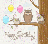 funny birthday card with owls family, balloons and confetti