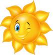 Cartoon sun with eye blinking  - 151581139