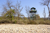 blue metal watchtower