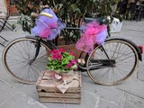 Mass party in Massa, bicycle decorated for parties.