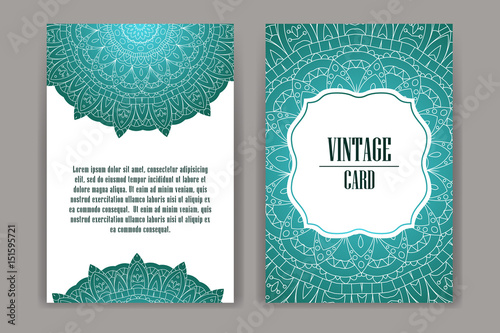 Tuinposter Abstract bloemen Retro hand-drawn card with mandala. Vintage background with place for text. Can be used for invitation, banner, others cards