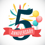 Anniversary 5 Years Template with Ribbon Vector Illustration - 151623584