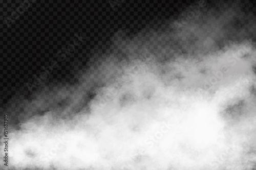 Wektorowy realistyczny odosobniony dymny skutek na przejrzystym tle. Realistyczna mgła lub chmura do dekoracji.