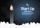 Paper art of Startup project concept. Business flat design vector illustration - 151682754