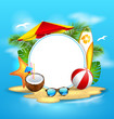Summer Background with Sea, Island, Beach, Umbrella