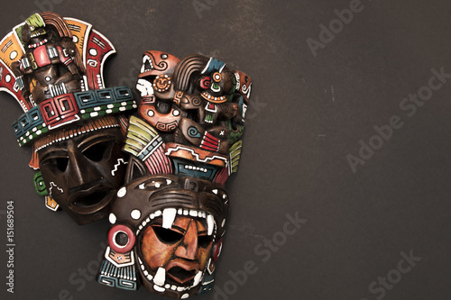 Mexican Mayan Aztec wood and ceramic mask