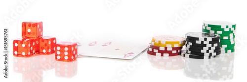 Panorama mit Würfeln, Spielkarten und Chips, Casino und Gambling плакат
