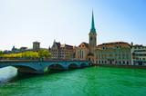 Beautiful old city Limmat River in Zurich, Switzerland.