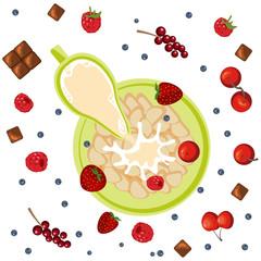 Breakfast with berries, flakes and chocolate. Milk in oatmeal breakfast. Organic muesli. Vector illustration eps 10