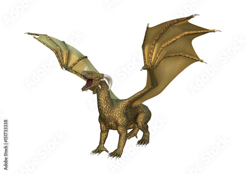 Foto op Plexiglas Draken 3D Rendering Fantasy Dragon on White