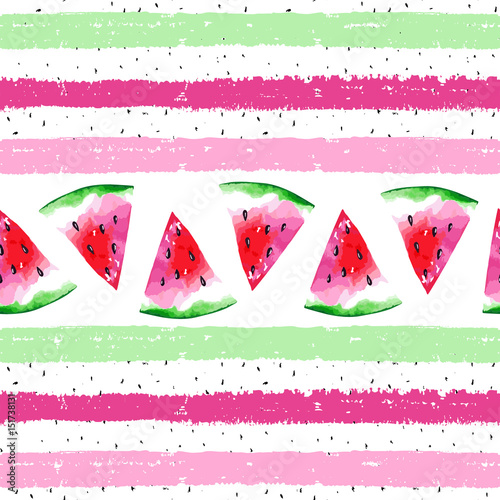 Watercolor seamless pattern with watermelon on striped background. Vector illustration - 151738131