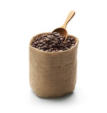 Coffee beans, burlap sack and wooden scoop isolated on white background
