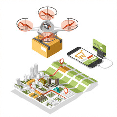 Drone with a box flying in the sky. Modern delivery of the package by flying quad copter. Vector isometric Illustration of the express package delivery