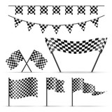 Set of sport checkered flags on white background