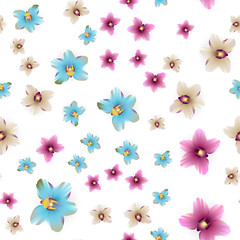 Vector background colored flower illustration. Hawaii tropical style. Abstract repeated backdrop with orchid blossom. Wrapping paper, bed linen, textile. Woman and girl floral fashion.