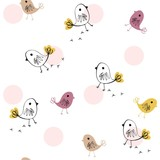 Cute seamless pattern with birds. Spring vector background.