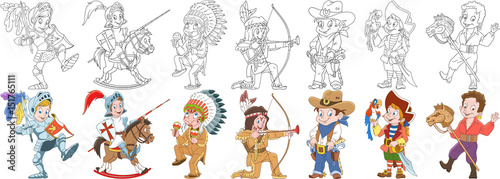 Cartoon people set. Collection of carnival costumes. Knight, native american indian chief, cowboy, sea pirate with macaw parrot, gypsy boy riding toy horse. Coloring book pages for kids.