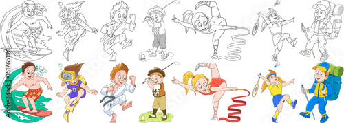 Cartoon children set. Collection of active sports. Boys and girls playing golf, badminton, surfing, scuba diving, practicing karate, gymnastics and mountain hiking. Coloring book pages for kids.