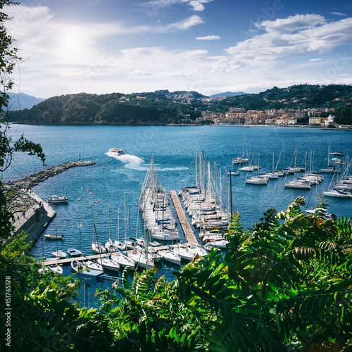 Scenic overview of white sailing boats, moored in harbour port of Lerici, Liguria, Italy Poster