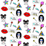 Trendy fashionable pattern with girls faces, lollipops, red lips, geometric elements. Comic pop art background
