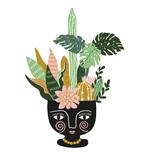 Hand drawn tropical house plants in the ethnic ceramic pot. Scandinavian style illustration, modern and elegant home decor. Vector print design. - 151767117