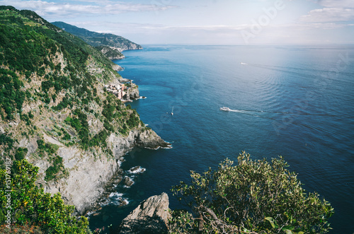 Distant picturesqu view of Vernazza old fishing Village from Cinque Terre path Poster