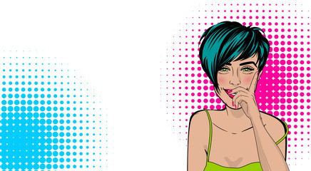Beautiful sexy positive girl short hair hand close smile, pink lips style pop art. Comic book colored halftone background. Vector dot illustration. For comic text advertisement.