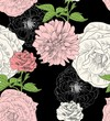 Cotton fabric Vector seamless pattern with flowers. Floral background