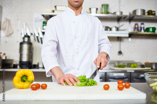 Chef carrying out master-class of cooking healthy food Poster