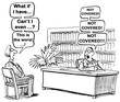 Medical cartoon about the changes in the healthcare insurance regulations and what is no longer covered.