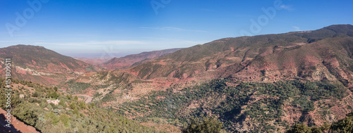 Wide view of moroccan Atlas mountains near Marrakech, Morocco