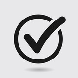 Check list button icon. Check mark in round sign. - 151815193