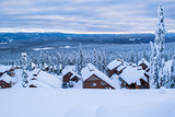 horizon of a winter scene with snowy roofs