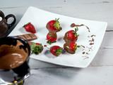 Fresh Strawberry with chocolate fondue