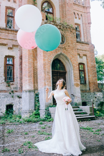 Beautiful bride with balloons Poster