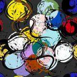 seamless background pattern, with paint strokes, splashes and circles