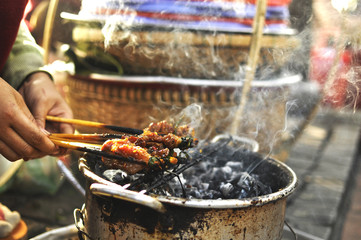 Grilled pork skewers in Vietnam