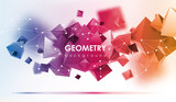 Fototapety Abstract poligonal background. 3d render illustration. Geometric background with low-poly elements.