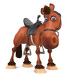 3d illustration beautiful Bay horse