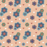 Decorative seamless pattern with flowers and hearts