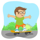 Cute little nerd boy with glasses on skateboard on road