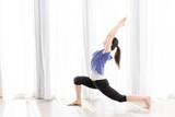 attractive asian woman yoga image
