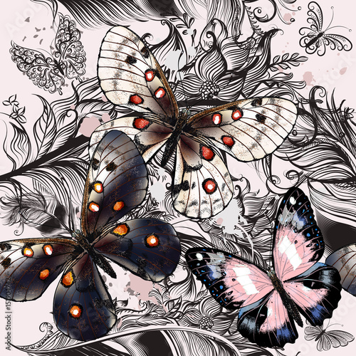 Foto op Canvas Vlinders in Grunge Beautiful fashion pattern with butterflies and ornament