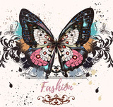 Fashion illustration with colofrul butterfly and ink spots, grunge style background