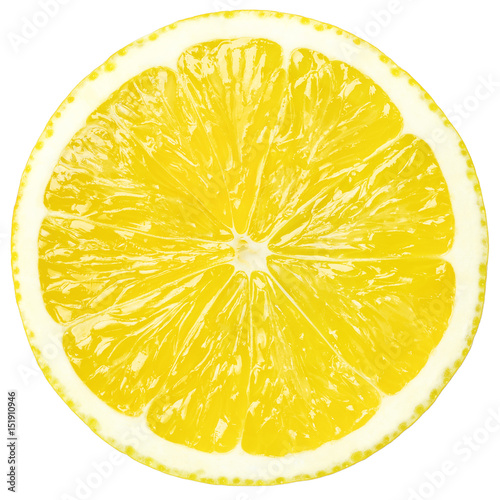 Poster Juicy yellow slice of lemon, clipping path, white background, isolated