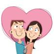cartoon couple sharing earphones. - 151948550