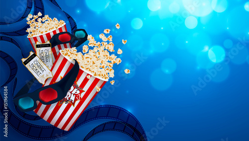 set of popcorn 3d glasses cinema ticket drawn vector illustration