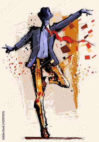 Canvas Art Studio Man dancing over grunge background